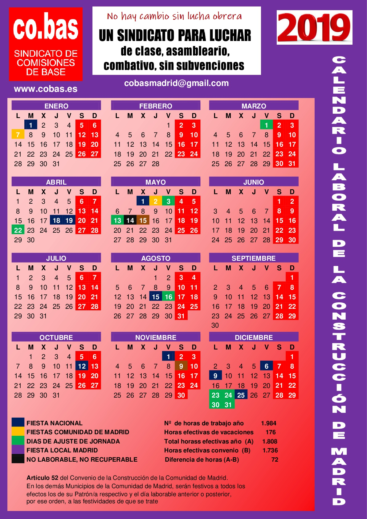 Calendario Laboral Comunidad De Madrid.Calendario Laboral 2019 De La Construccion De Madrid Co Bas Es